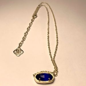 Elisa Gold Pendant Necklace in Colbalt Cats Eye
